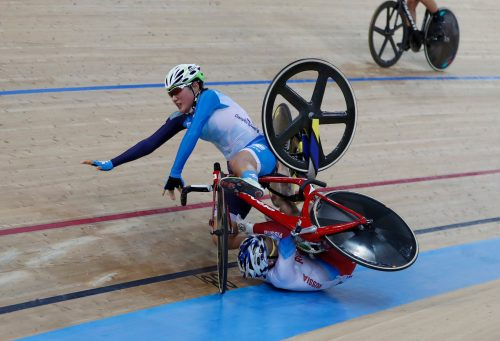 Hong Kong's Pang Yao, left, and Russia's Mariia Averina collide and crash during the women's madison at the World Track Cycling championships in Hong Kong, Saturday, April 15, 2017.