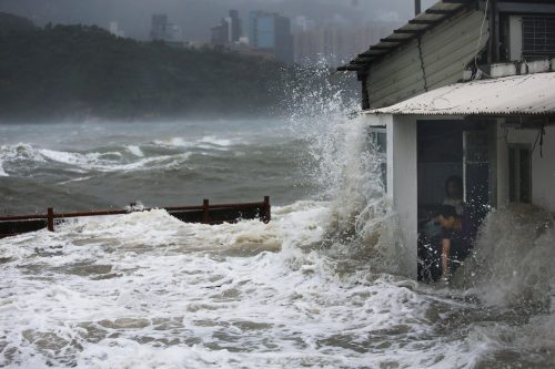 Strong waves hit Lei Yue Mun as Typhoon Hato hits Hong Kong on August 23, 2017 with signal no.10 in force.