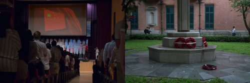 In this combination of photos, left: Participants stand for China's national anthem at a school meeting in Hong Kong highlighting achievements of students who visited the mainland on exchange programs, Tuesday, June 6, 2017; and right: Wreaths mourning soldiers who died during first and second World Wars are placed outside St. John Cathedral in Hong Kong, Monday, June 12, 2017. Chinese nationalism, especially aimed at children in schools, is a recurring and divisive theme in Hong Kong, while at the same time memorials to long-ago wars fought by the city's former ruling power are reminder that some still mourn the past under British colonial rule.