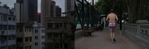 In this combination of photos, left: An LED screen shows a red semicircle between buildings in Hong Kong on Saturday, May 20, 2017; and right: A man wearing the British flag shorts jogs at King George V Memorial Park in Hong Kong on Friday, June 2, 2017. Two decades after Hong Kong was handed to China, many residents continue to live their lives as before, holding on to old habits and routines as well as beliefs inspired by the former British colonial rulers, such as democracy, freedom of speech and justice.