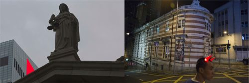 """In this combination of photos, left: The corner of a red LED screen is seen next to the statue of Goddess of Justice at the former Supreme Court in Hong Kong, Thursday, June 1, 2017; and right, A man wears devil horns head gear in front of the Fringe Club, which was built in the British colonial style, in Hong Kong, Saturday, May 27, 2017. After the 1997 handover, Hong Kong cherished its autonomy, including its judicial independence, but with recent confrontations between pro-Democracy and pro-Beijing supporters, many believe that the """"one country, two systems"""" principle is under threat as China seeks to impose its will."""