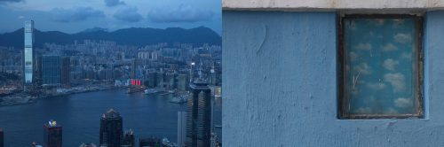 In this combination of photos, left: Clouds hang over Victoria Harbor as a red LED display is seen at a shopping mall in Hong Kong Wednesday, June 7, 2017; and right: A window frames a painting of clouds at a primary school in Hong Kong Friday, June 2, 2017. Hong Kong is often described as China's window to the world but many residents feel their own freedoms have been circumscribed after control was handed to China in 1997 – like an expansive photo hemmed in by a frame.