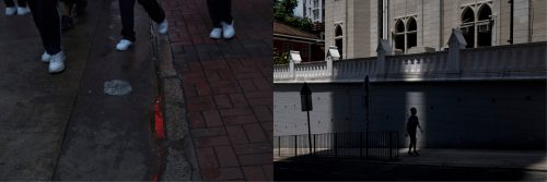 In this combination of photos, left: Red neon light is reflected in a puddle in Hong Kong, Friday, June 2, 2017; and right: A man is silhouetted in a sliver of light as he walks in front of Tsung Tsin Mission of Hong Kong Kau Yan Church which was built in colonial style in 1861, Monday, May 29, 2017. As Beijing tightens its grip on Hong Kong, residents navigating the city's complex political situation often must choose sides, politically or culturally, or else find space to exist in the few gaps left.