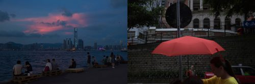 In this combination of photos, left: Residents look at the sunset glow over Victoria Harbor in Hong Kong Sunday, June 11, 2017; and right: A woman carries a red umbrella past Sun Yat-sen Museum, which was built in colonial style, Saturday, May 20, 2017. Two decades after the handover, China's presence is inescapable for many in Hong Kong, hanging over residents like a cloud, though authorities might like people to believe being under Beijing's control is more of a shield.